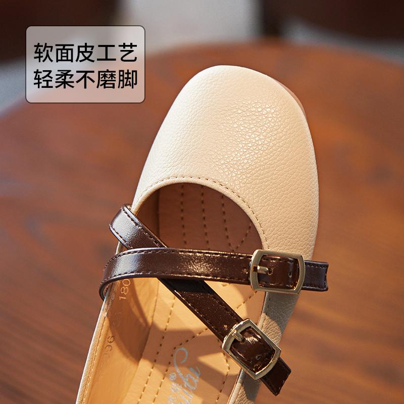 木木兔童鞋女童皮鞋春秋2018新款韩版公主鞋儿童单鞋小女孩豆豆鞋