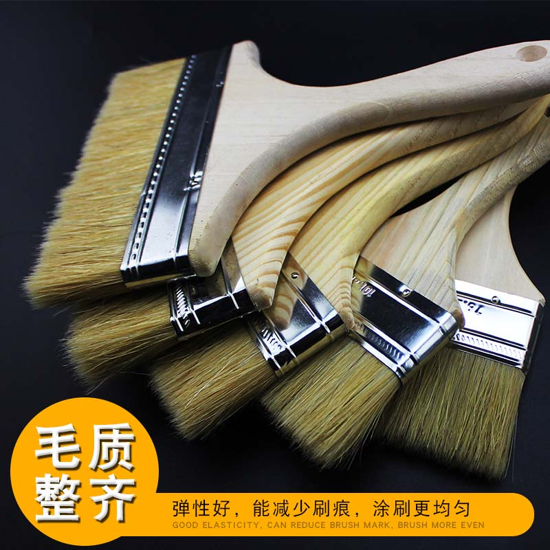 加厚油漆刷猪鬃毛刷排笔船刷长毛涂料刷清洁扫不掉毛工业用小刷子