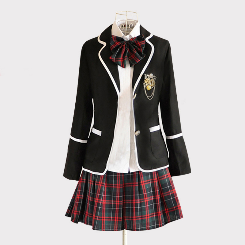英伦风学院风校服套装韩国中学jk制服女子中学生高中班服夏季套装