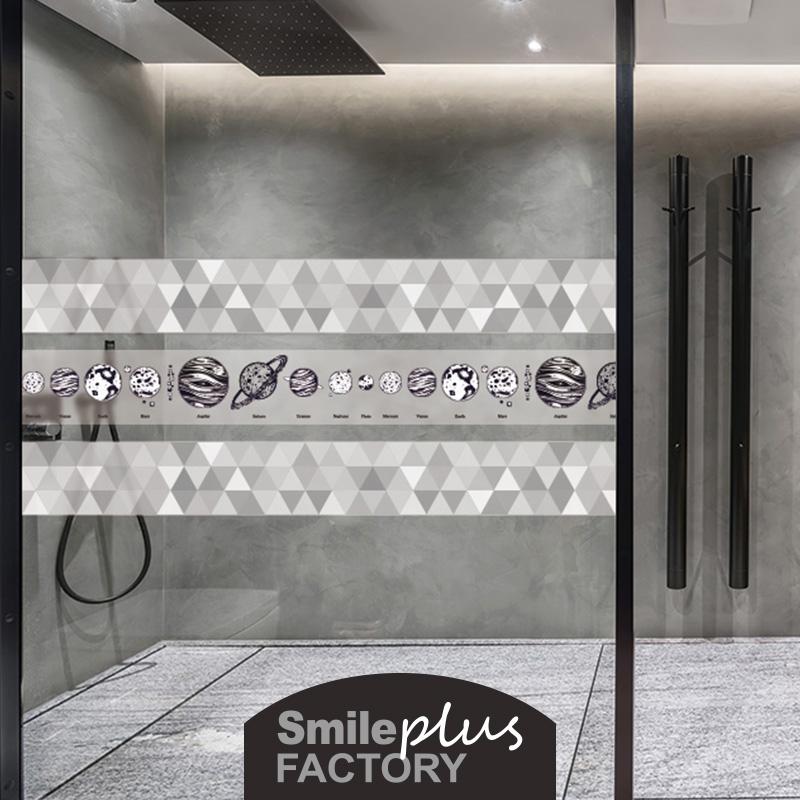 浴室玻璃贴纸推拉门个性创意卫生间防撞贴厨房玻璃门窗装饰腰线贴 No.2
