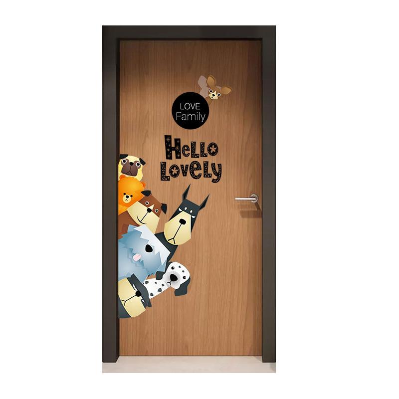卡通儿童门贴纸房间墙壁纸布置卧室墙贴装饰小图案画墙面墙纸自粘