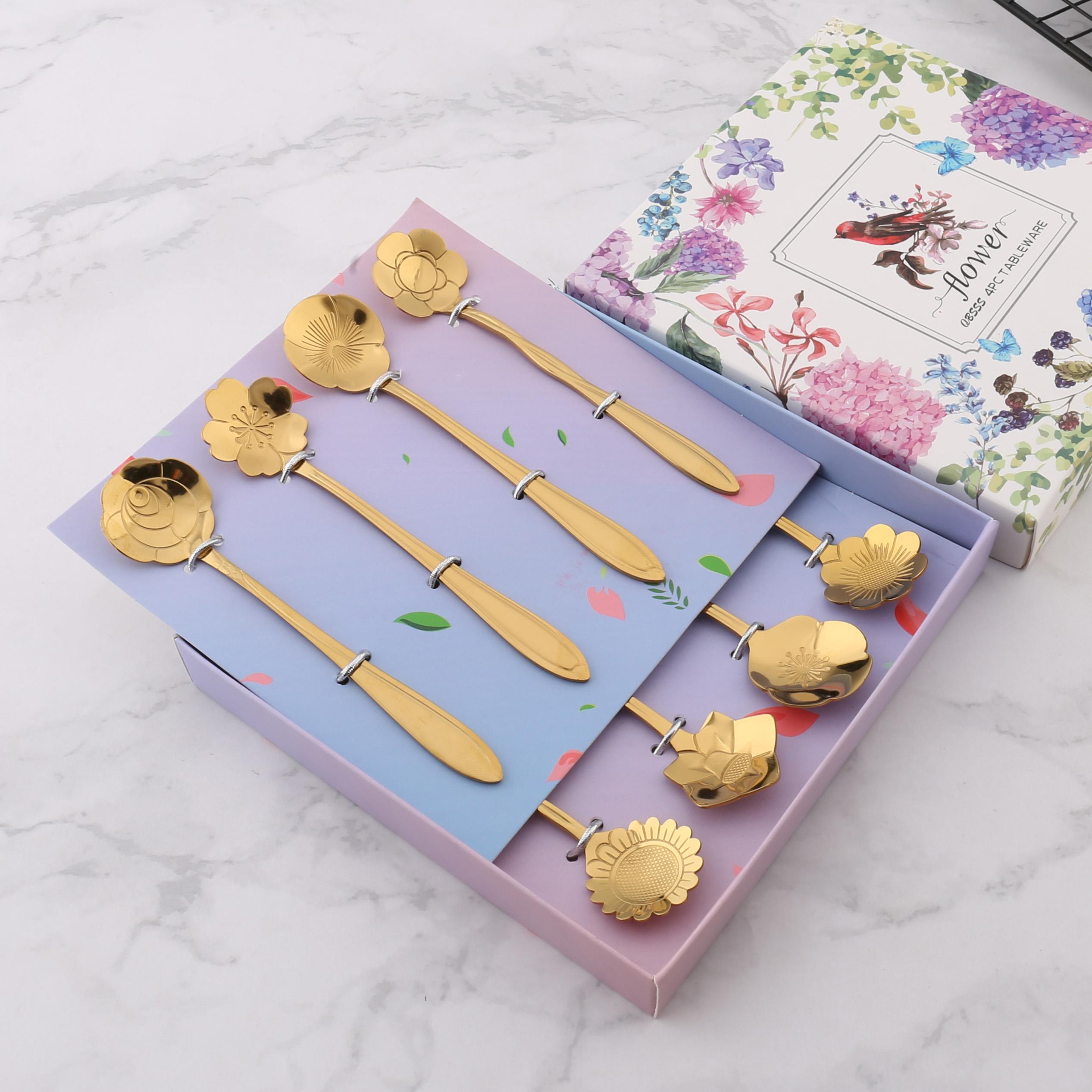 创意不锈钢樱花勺金色花朵小勺精致雪糕咖啡勺礼品餐具勺子套装