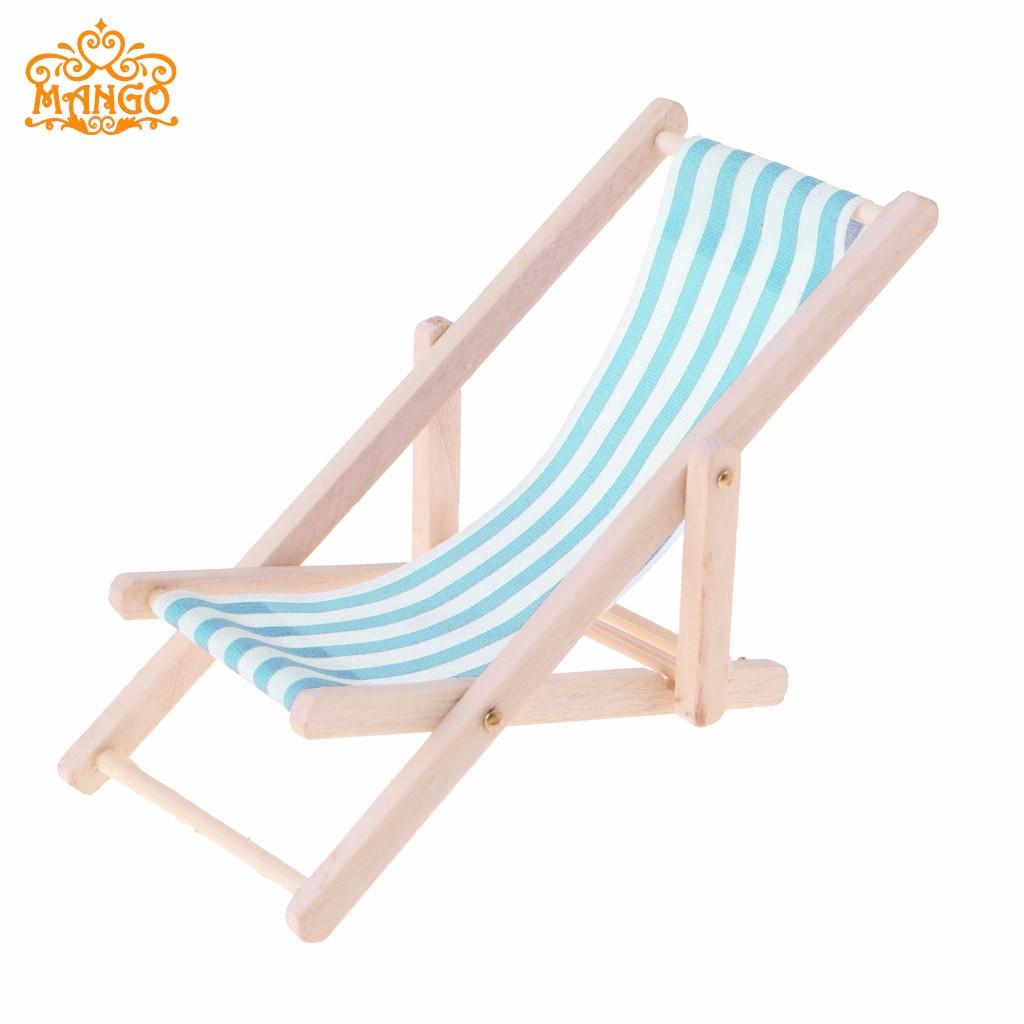 1:12娃娃屋dollhouse迷你家具模型成品 条纹木质躺椅沙滩椅子多色