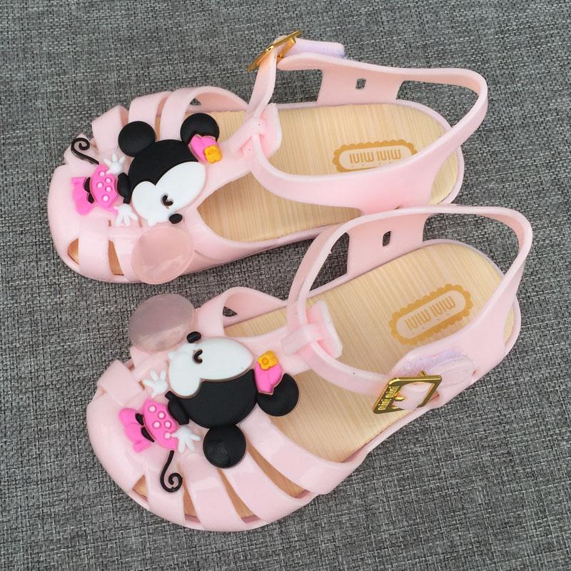 儿童卡通凉鞋女童米妮包头镂空宝宝果冻鞋小童女孩防水沙滩凉拖鞋