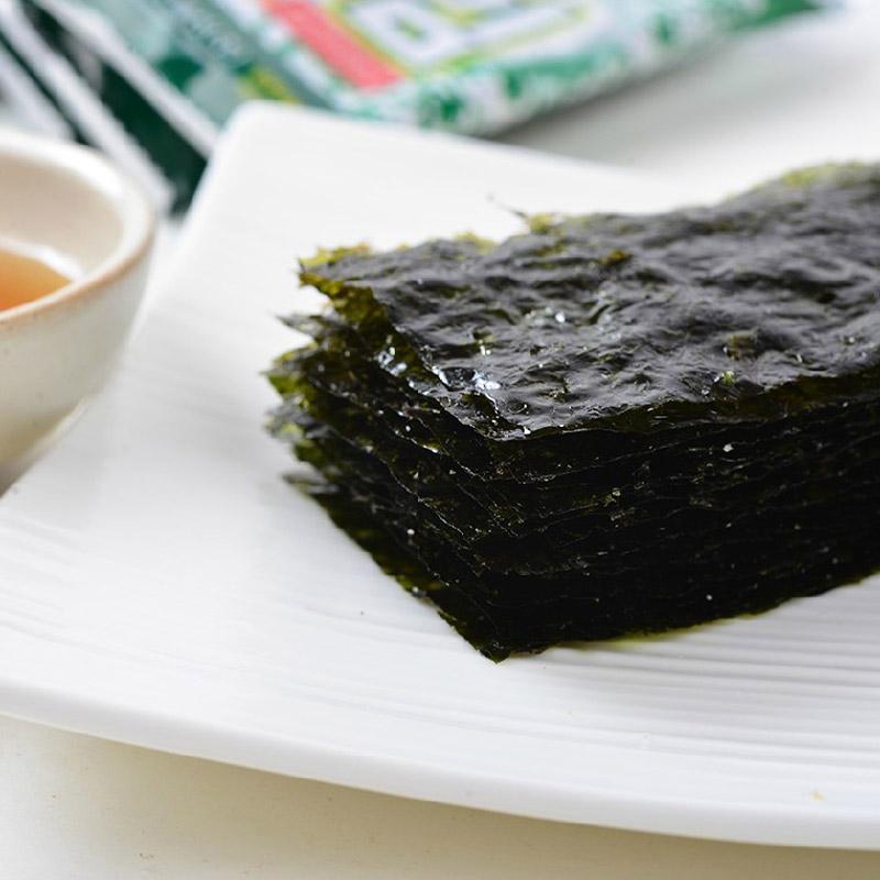 儿童零食 包紫菜片原味即食包饭寿司好吃 2gx8 九日海苔 韩国进口