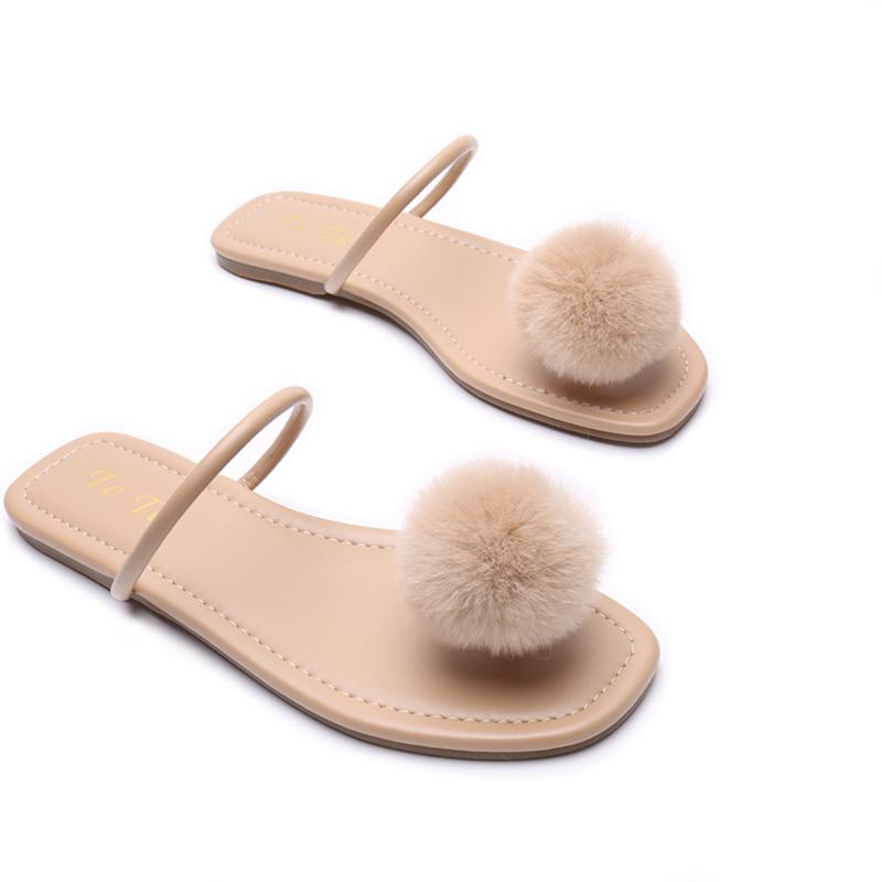 新款夏季毛球平底夹脚拖鞋女沙滩外穿凉拖鞋 一颗小毛球 Features
