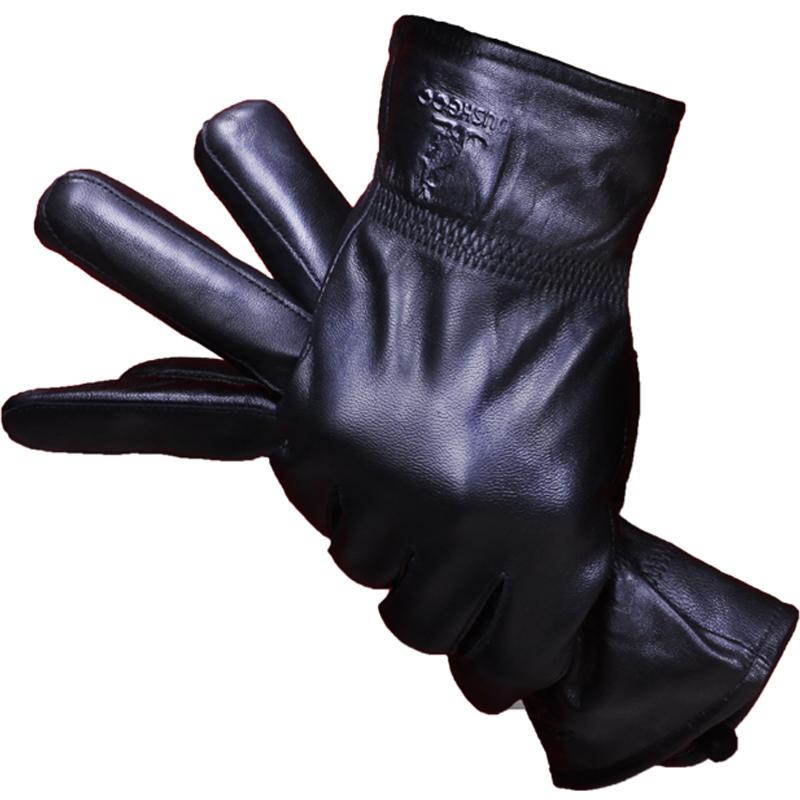 袋鼠真皮手套男士骑行绵羊皮冬季开车摩托车加绒加厚保暖女士薄款