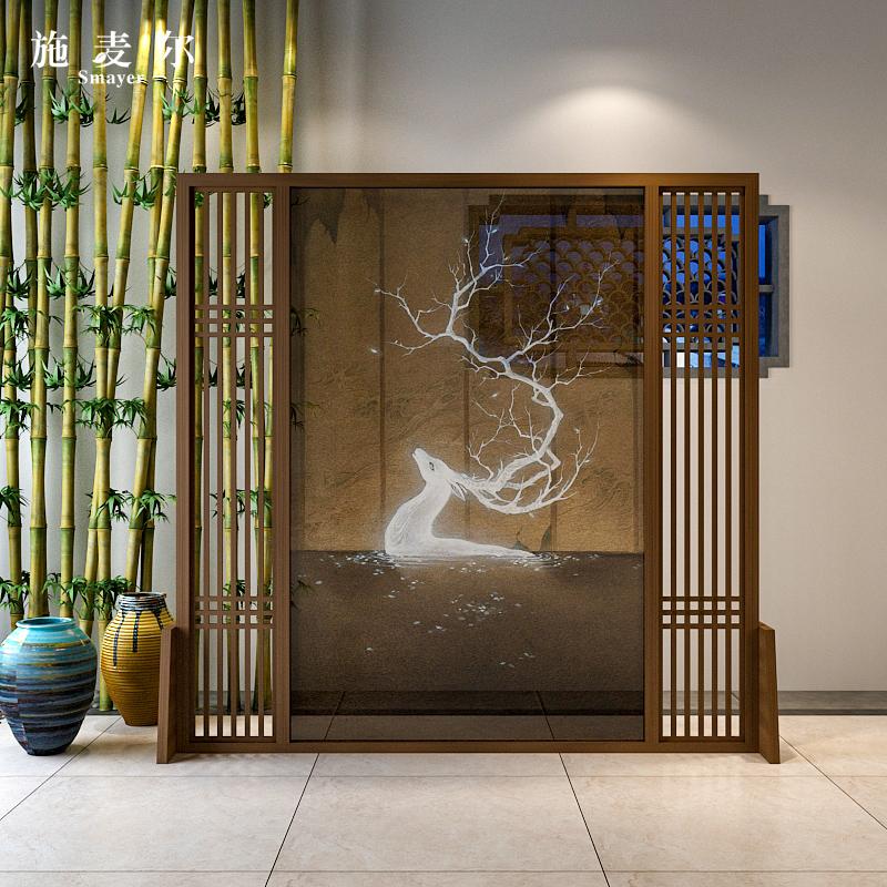 新中式实木屏风隔断客厅卧室办公室入户玄关发财鹿半透明装饰座屏