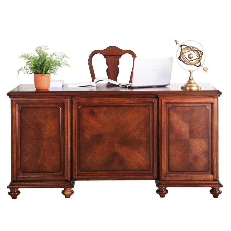 艺墅名流  美式实木书桌书柜组合乡村仿古写字台办公桌美式电脑桌