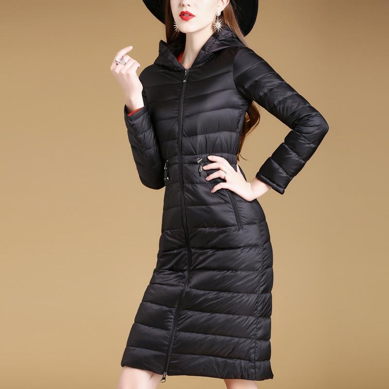英曼妃冬季新款女装时尚修身显瘦轻薄羽绒服女中长款反季女士外套