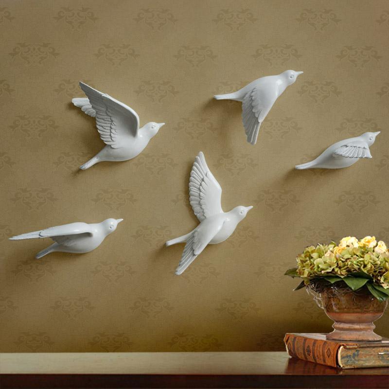 創意樹脂小鳥壁飾掛飾歐式客廳臥室電視背景牆飾掛件牆面裝飾牆貼
