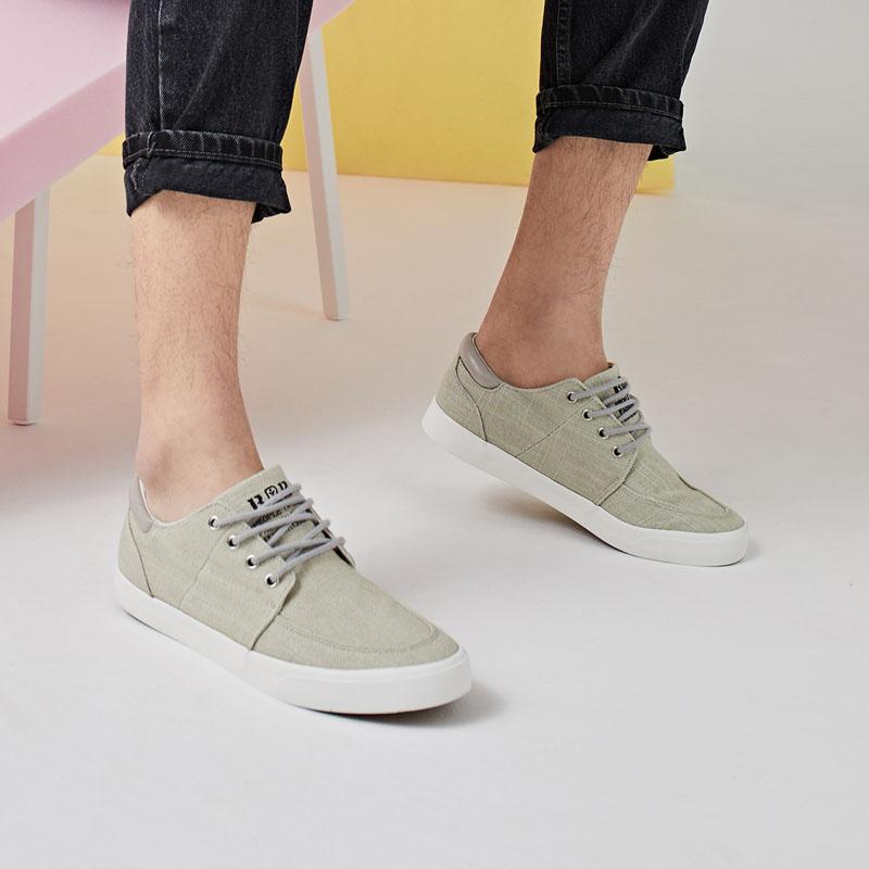 人本帆布鞋男棉麻休闲板鞋 秋季男士低帮韩版运动男鞋 新款潮鞋子