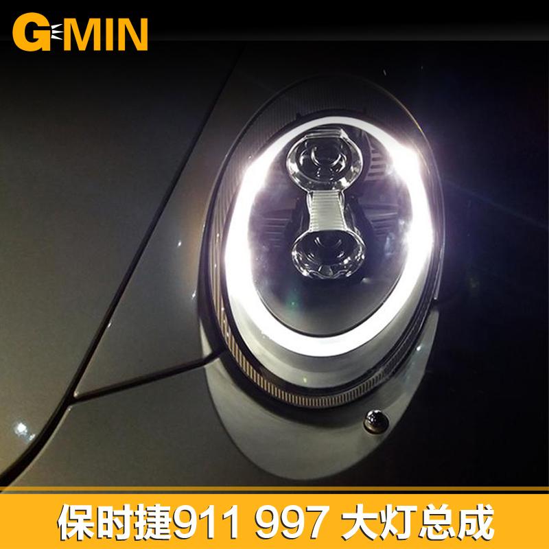 秀山保时捷911大灯总成 改装车灯997led日行灯 双光透镜氙气升级