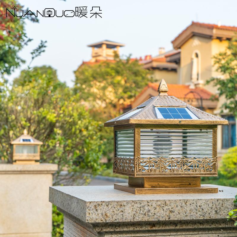 暖朵太阳能柱头灯别墅围墙大门户外防水庭院门柱柱子墙头家用电灯