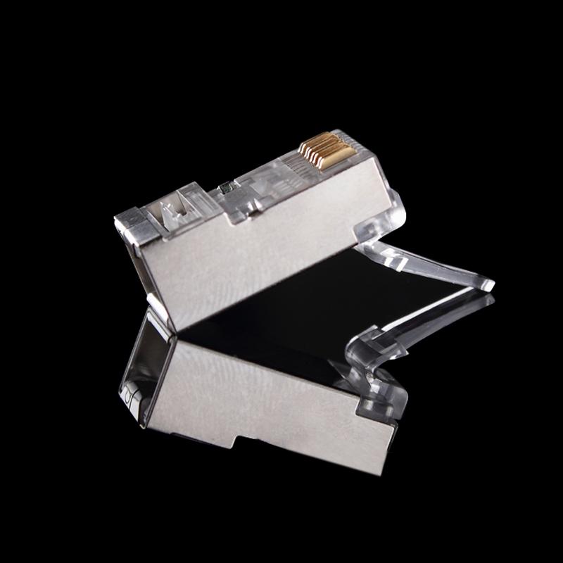 网络水晶头 镀金超六类屏蔽水晶头SFTP两件式6类千兆网线接头包邮