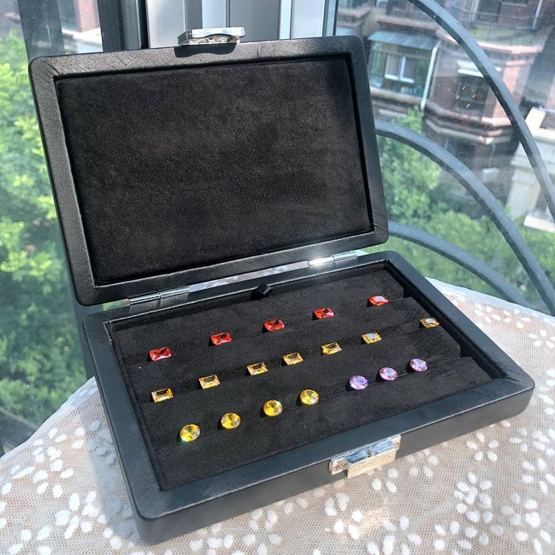 高端珠宝样品箱展示托盘钻石盒裸钻祖母绿托宝石盒珠宝箱便捷首饰
