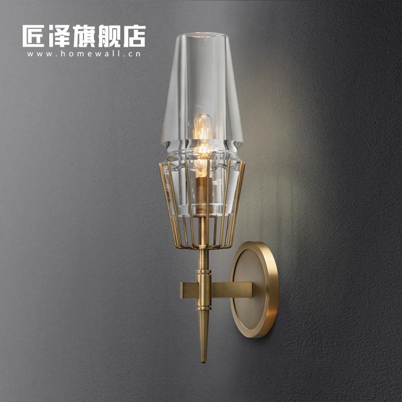 匠泽美式壁灯全铜后现代轻奢简约过道走廊卧室床头灯客厅背景墙灯