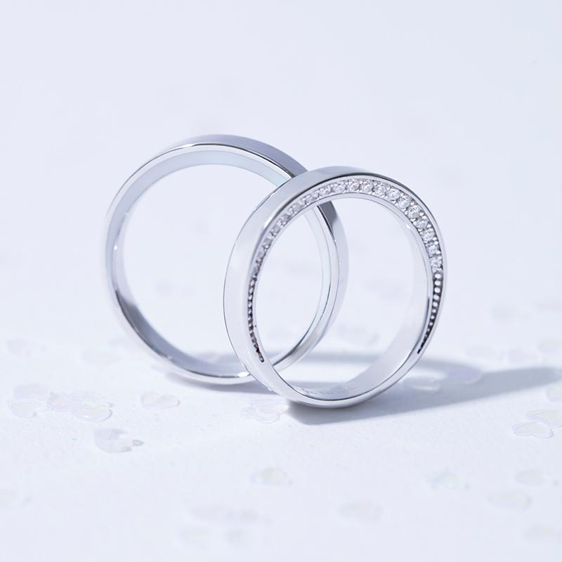 angs/諳詩皎洁月光月亮925银镀铂金情侣对戒指男女款生日礼物正品