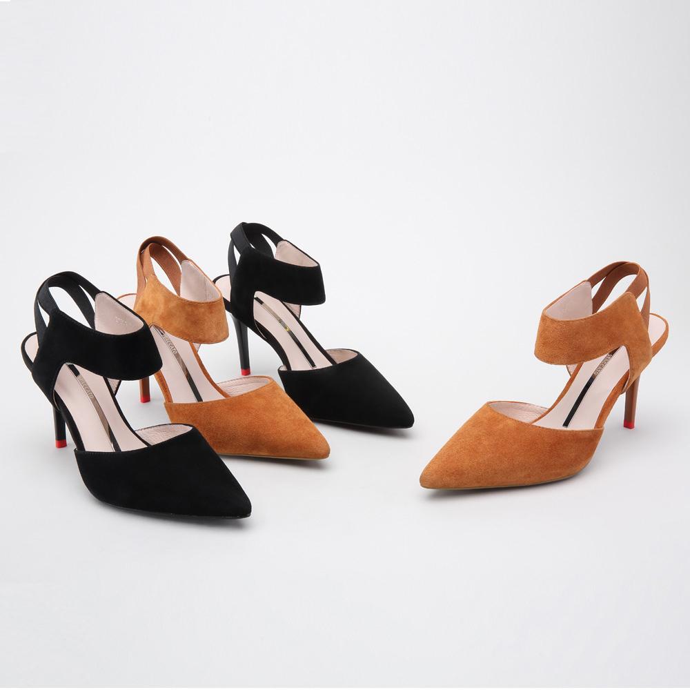 R1201AH8 春季细高跟女凉鞋时尚尖头纯色女鞋 2018 思加图