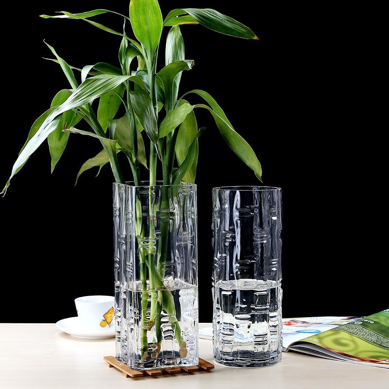 插花特大号落地 50CM 高 40cm 大号客厅玻璃花瓶摆件转运竹富贵竹透明