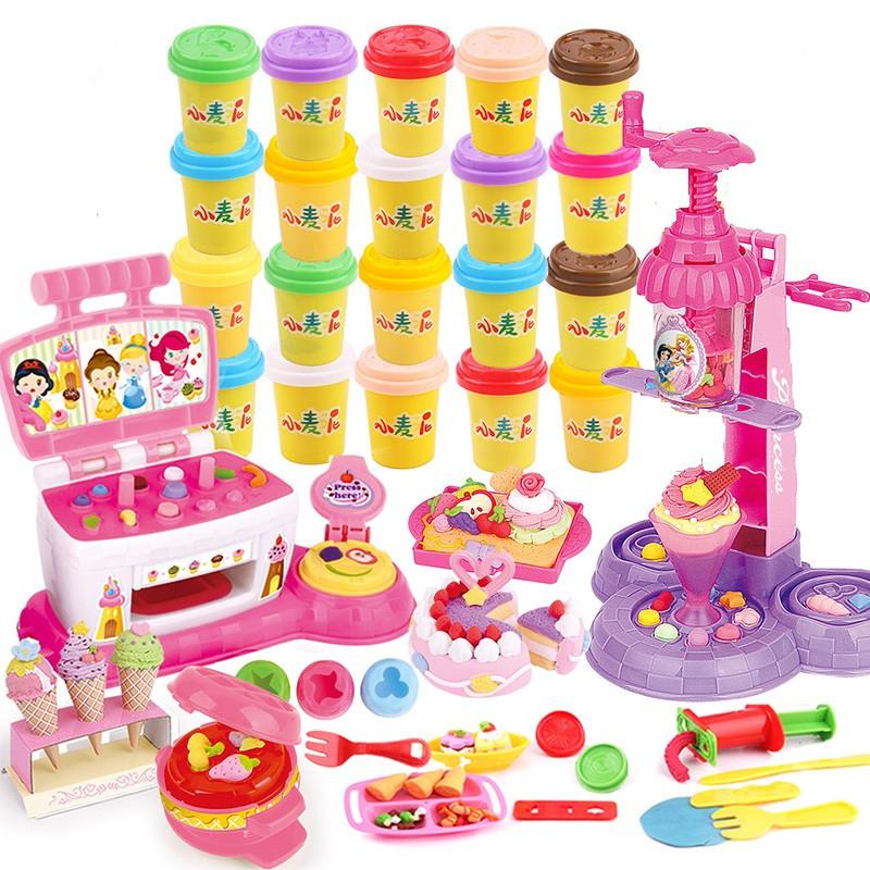迪士尼橡皮泥模具工具套装雪糕机无毒3d彩泥小麦粘土儿童玩具女孩