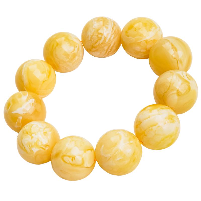 福品缘天然琥珀蜜蜡手串男女款吊坠108颗佛珠满蜜鸡油黄珠宝直播