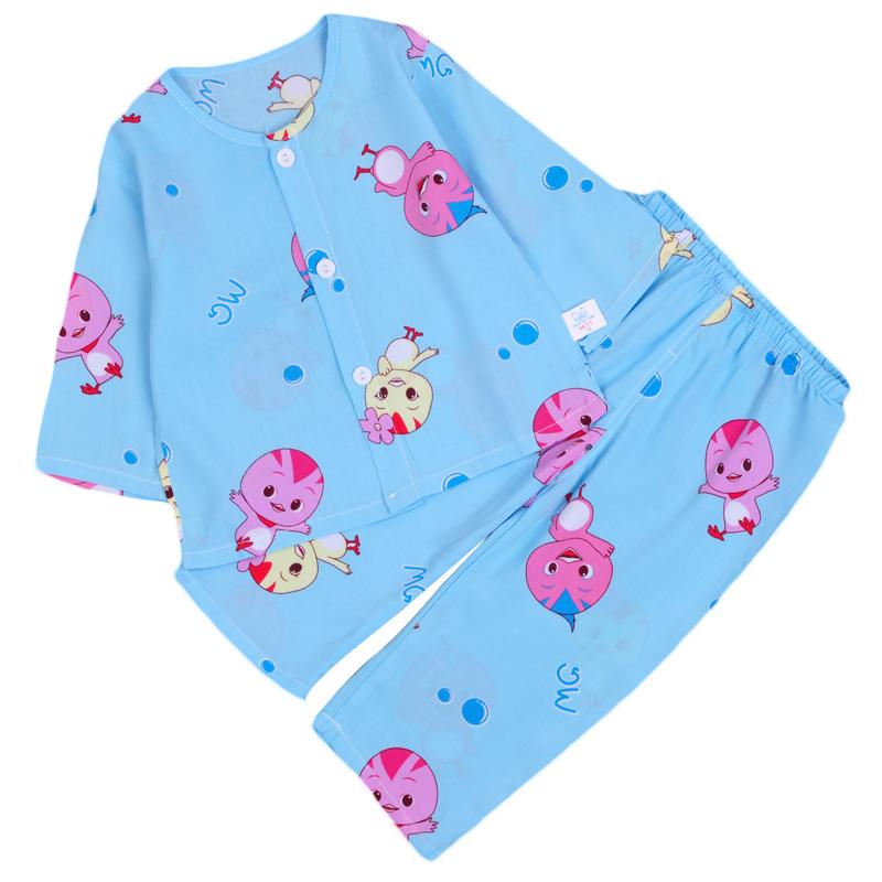 夏季儿童棉绸睡衣男女童小孩宝宝长袖绵绸套装婴幼儿家居空调服薄