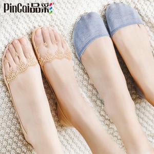 船袜女蕾丝袜子纯棉袜底浅口隐形春秋薄款硅胶防滑高跟鞋短袜夏季