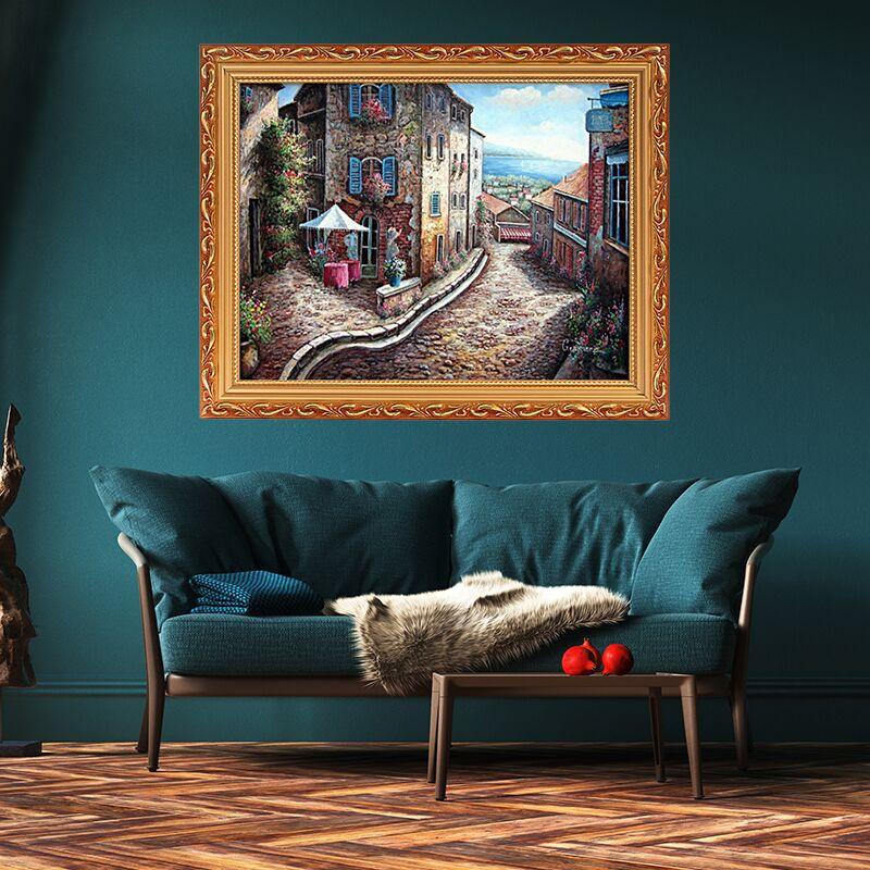 歐式帶框裝飾畫地中海風景油畫客廳臥室裝飾掛畫賓館酒店過道壁畫