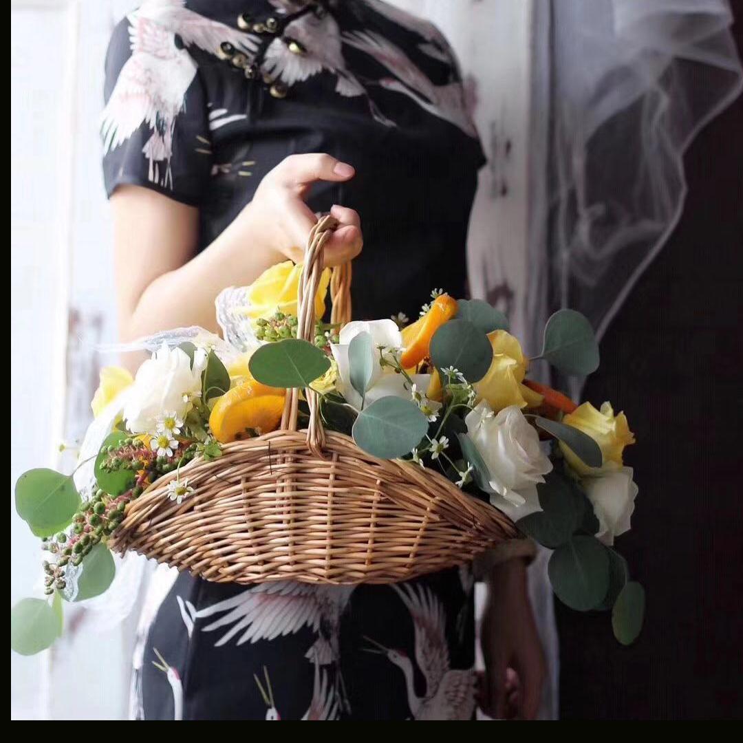 插花花篮藤编手提水果篮子编织篮竹编鲜花干花花筐气球花篮道具