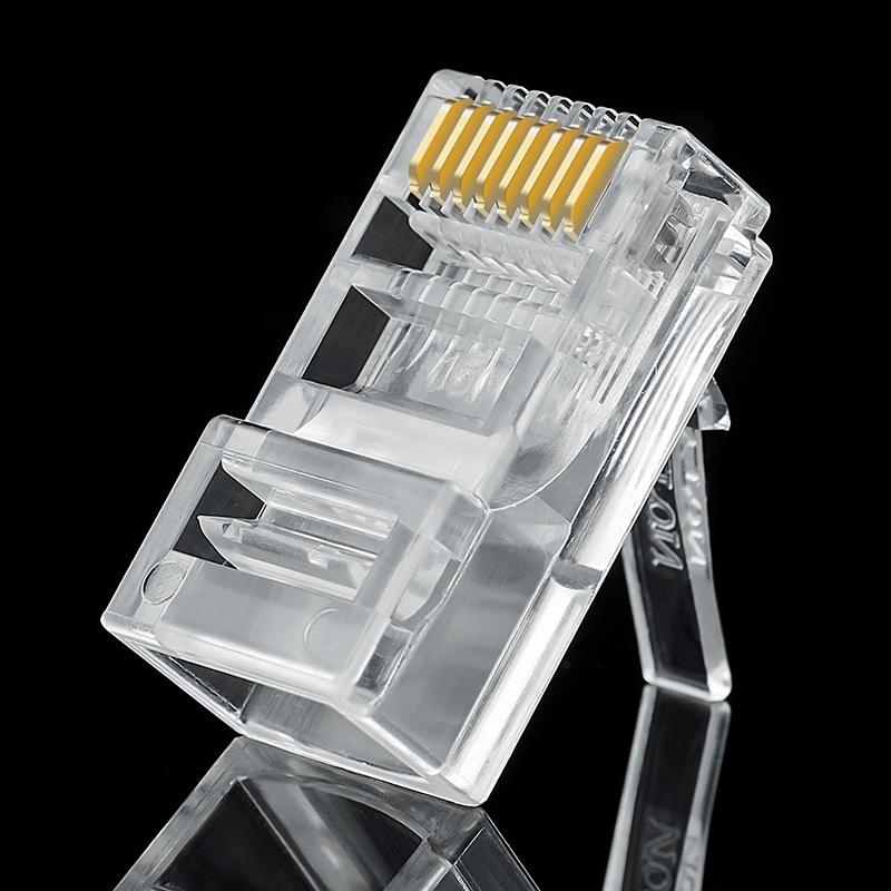 安亿通镀金超五类非屏蔽网络8P8C芯水晶头RJ45网线连接头家用包邮