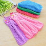 Can be hanging coral velvet cloth towel towel towel handkerchief thick absorbent lint-free cloth kitchen bathroom