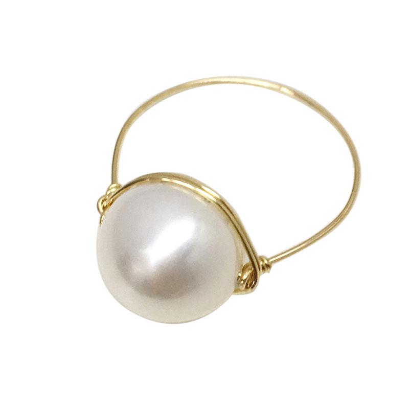 包金线手工原创独特包邮超大强光单颗戒指 14k 天然淡水珍珠戒指女