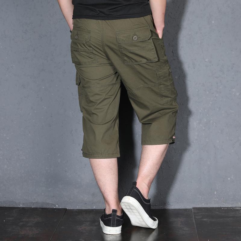 户外休闲五分裤男宽松加肥加大码多口袋运动中裤夏季薄款短裤纯棉