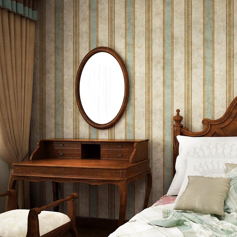 伊然美式乡村竖条纹复古蓝壁纸无纺布卧室客厅电视背景墙墙纸