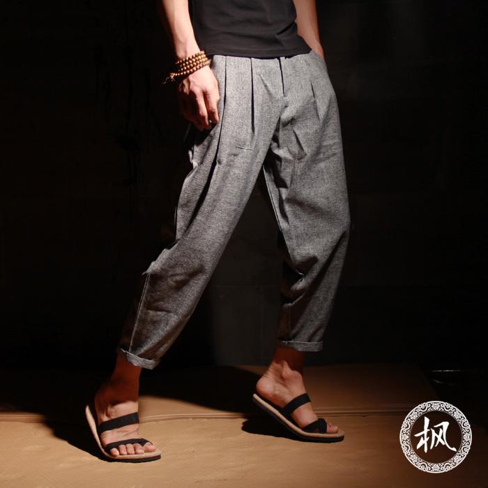 夏季九分裤男复古宽松哈伦裤男士薄款亚麻短裤日系小脚9分休闲裤