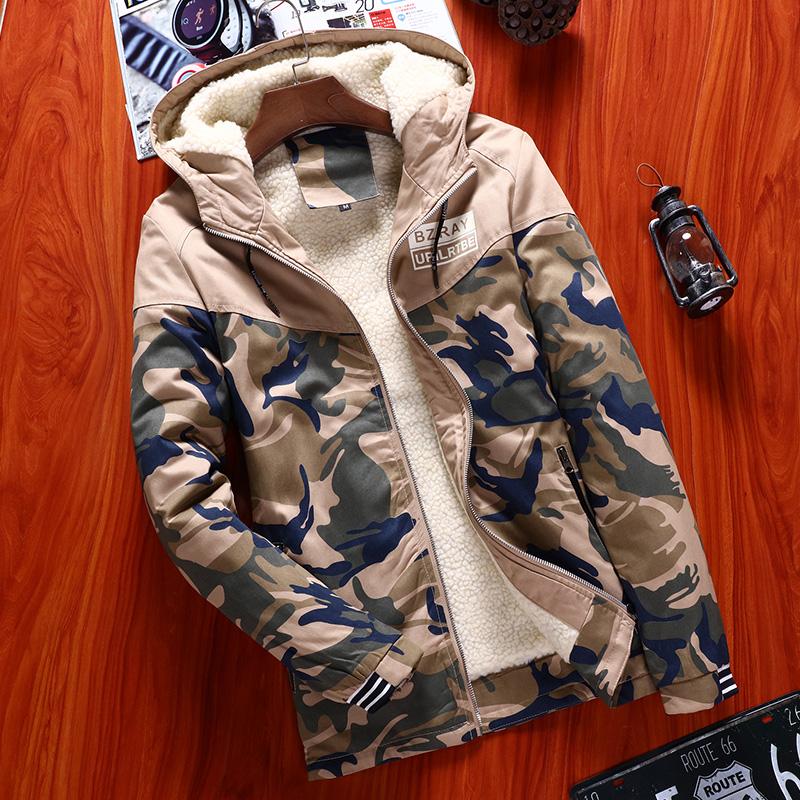 冬季迷彩棉衣带帽加厚冬天棉袄男士韩版修身加肥加大码外套青少年