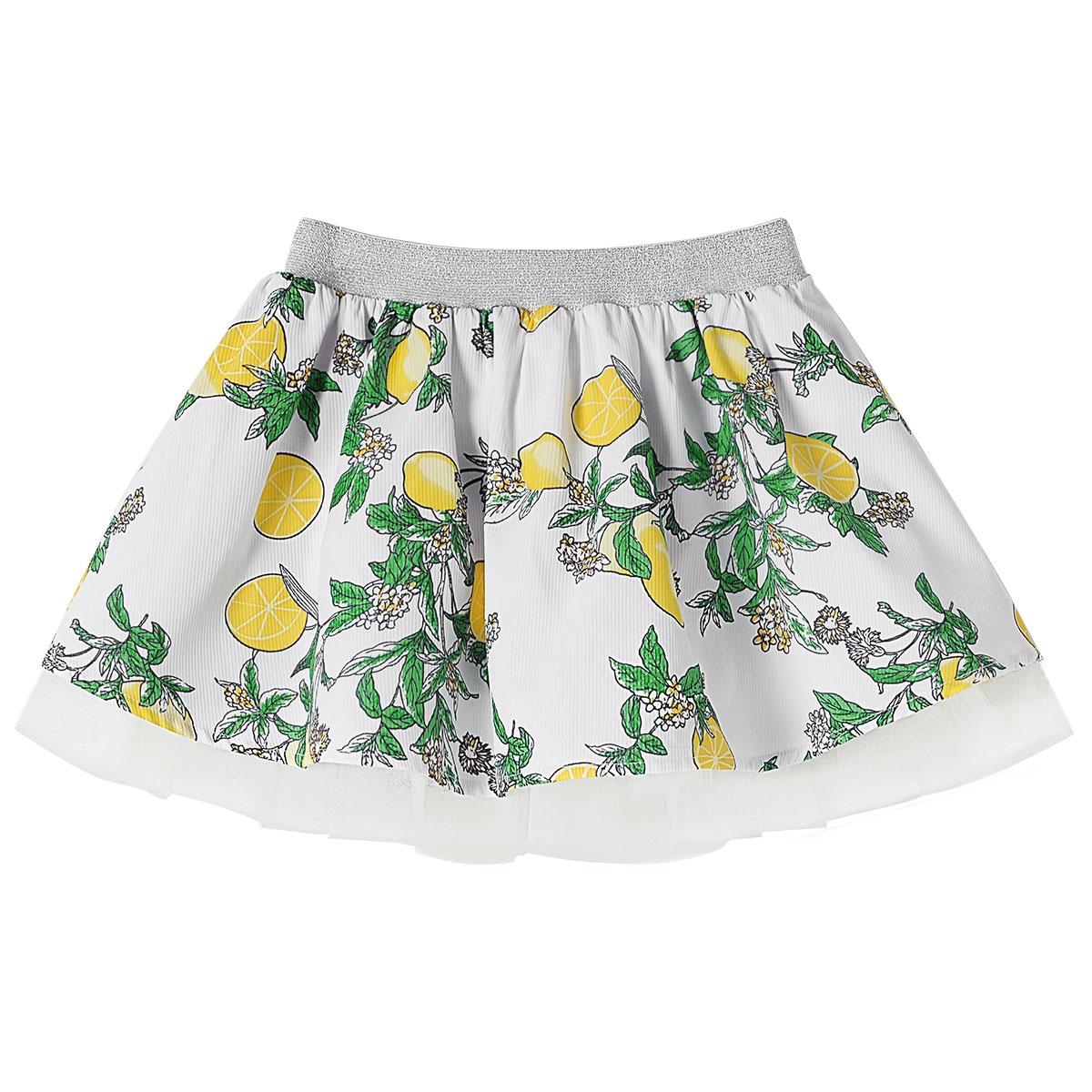 衣品天成童装夏装新款女童短裙中大儿童时尚印花网纱A字半身裙子