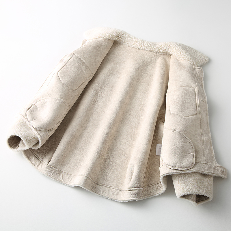帕波仕蒂2019 春裝新款海寧女士顆粒羊毛大衣女韓版羊毛皮草外套T