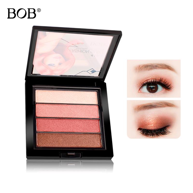 BOB晶採絢亮四色眼影盤 彩妝盤大地色系防水亞光啞光裸妝眼部打底