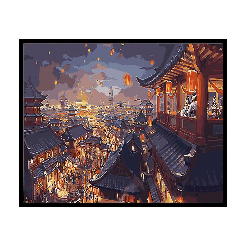 數字油畫diy風景唯美古風夜景孔明燈手繪填充涂色油彩畫 華燈初上