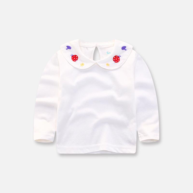 女宝宝白色打底衫婴儿衬衫春秋款翻领长袖娃娃衫女童打底衫儿童装