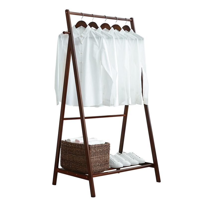 竹山下实木衣帽架 卧室简易家用多功能欧式衣服的架子 挂衣架落地