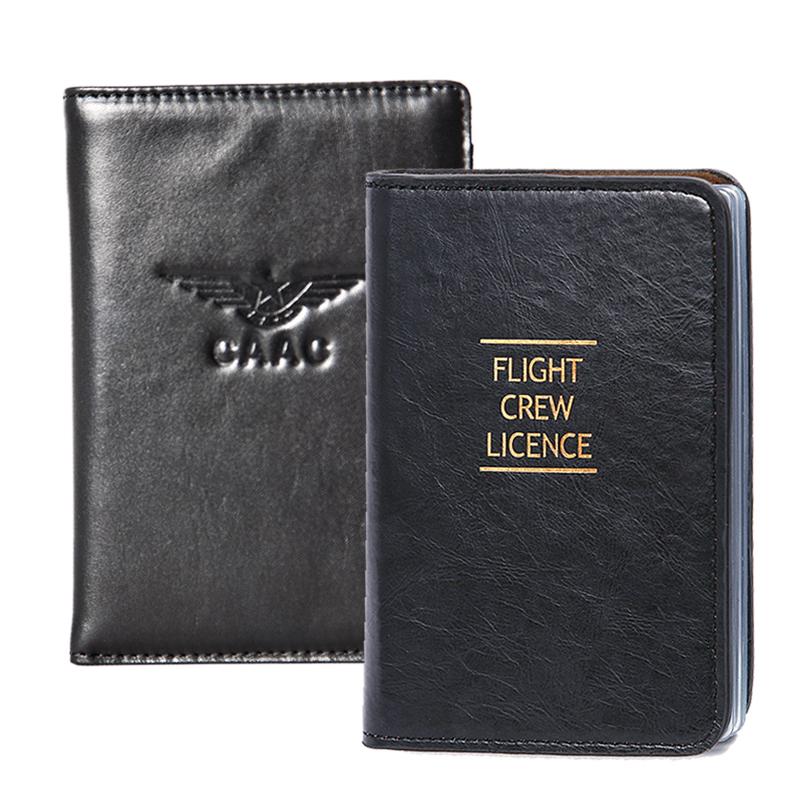 包郵中國民航 機組執照夾 高端瘋馬皮飛行員護照保護套證件夾皮套