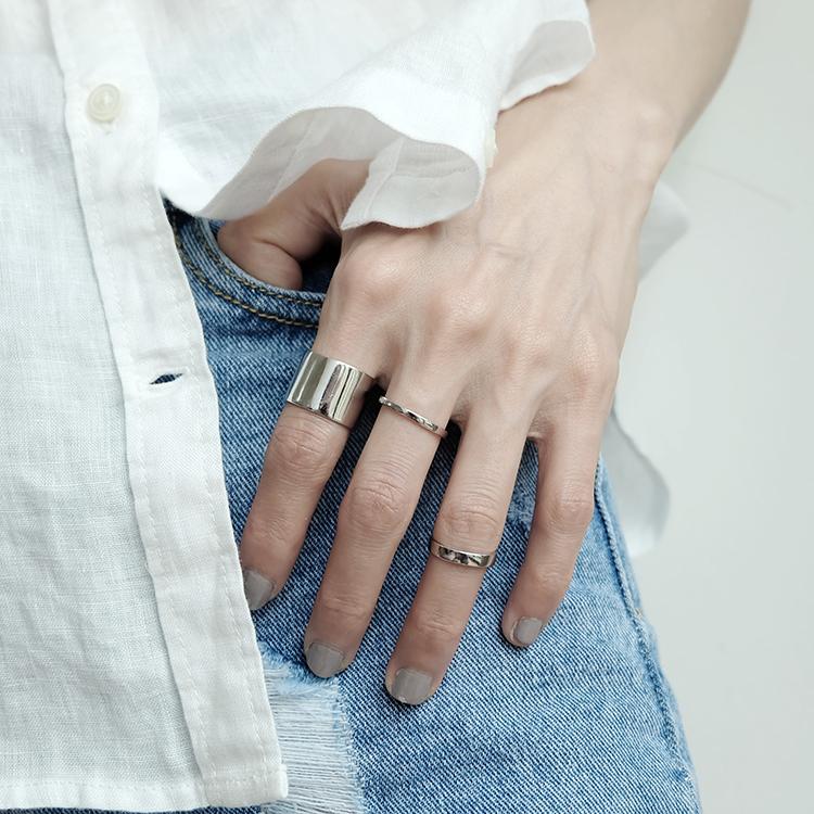 纯银细圈开口戒指光面简约  风格百搭细指环女关节戒指 CHIC 韩版 S925