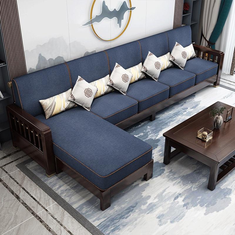 新中式全实木现代简约沙发紫檀色橡胶木成人组合客厅懒人多用家具主图