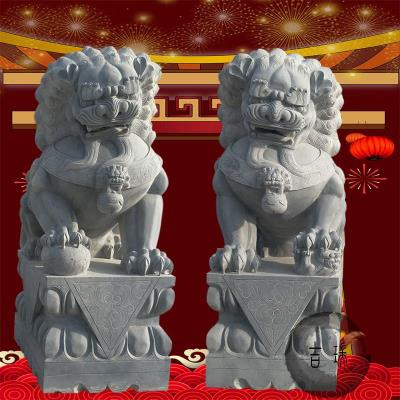 Bluestone carving marble white marble lions in front of the town house janitor one pair of small household shrine cemetery ornaments ZC