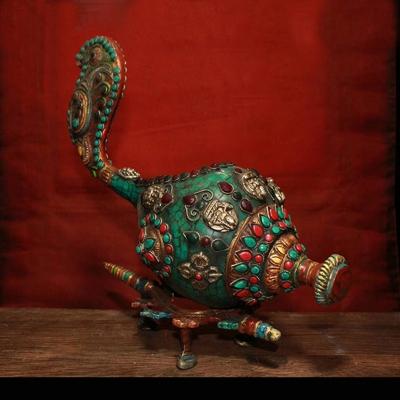 尼泊尔工艺纯铜镶嵌宝石彩绘法螺 法号藏式法器镇宅辟邪家居装饰 mini 2