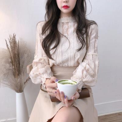 2020春秋新款韩国钩花镂空花边立领长袖蕾丝衫甜美百搭打底上衣女