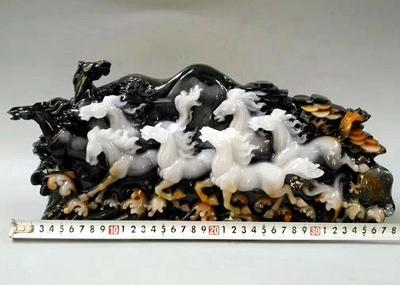 仿独山玉石雕摆件动物原石工艺品装饰品摆件独山玉大号摆件八马图 mini 2